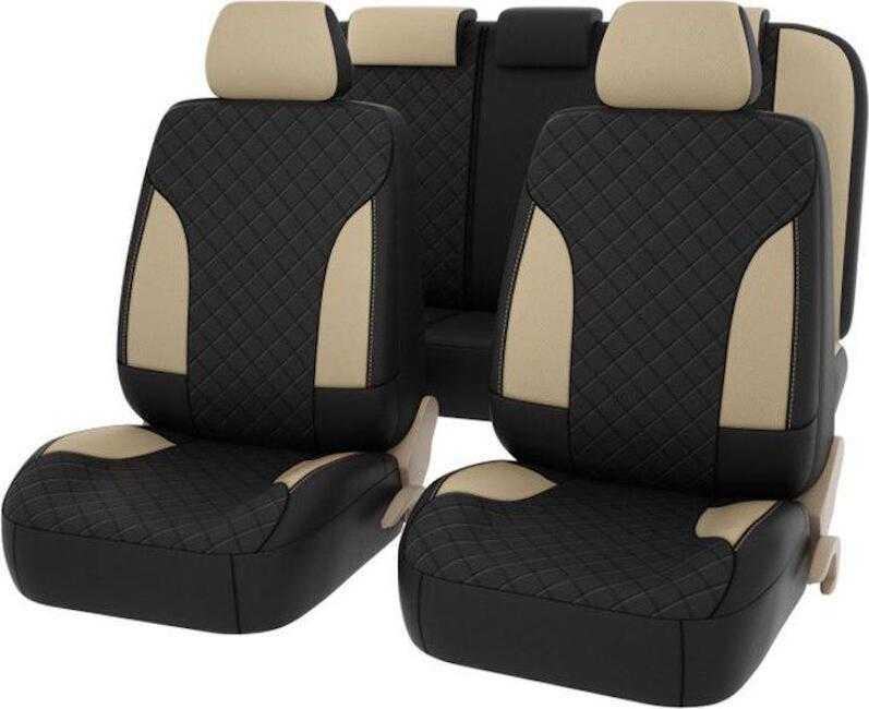 Авточехлы Premium King, экокожа, бежевые с бежевой отстрочкой, комплект на салон 11 предметов, универсальные — купить в интернет-магазине OZON с быстрой доставкой